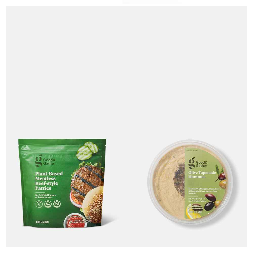 Frozen Plant Based Meatless Beef-Style Patties - 12oz - Good & Gather™, Olive Tapenade Hummus - 10oz - Good & Gather™