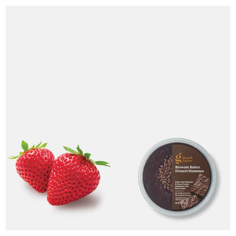 Strawberries - 1lb Package, Brownie Batter Dessert Hummus - 10oz - Good & Gather™