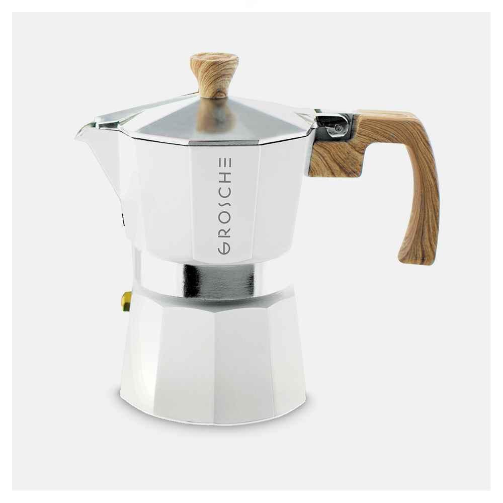 GROSCHE Milano Stovetop Espresso Maker Moka Pot 3 Espresso Cup size 5oz, White