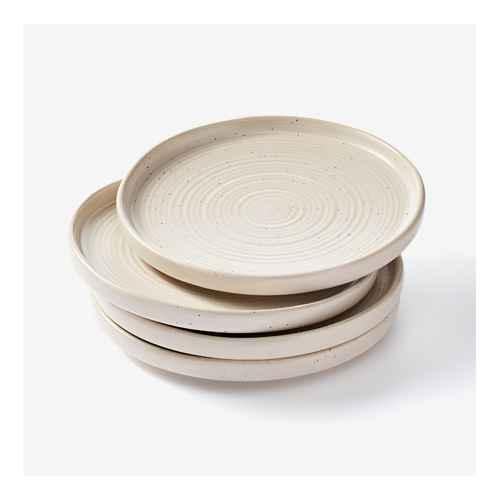 "8.5"" 4pk Stoneware Glazed Salad Plates Cream - Threshold™ designed with Studio McGee, 16pc Stoneware Tilley Dinnerware Set Brown - Project 62™"