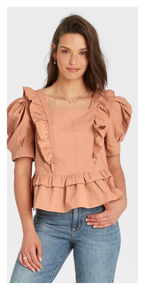 Women's Puff Short Sleeve Ruffle Peplum Blouse - Universal Thread™ Brown XL