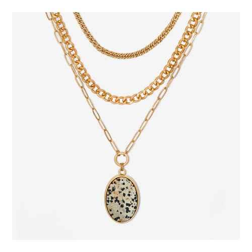 Semi-Precious Dalmation Layered Muti-Strand Necklace - Universal Thread™ Cream
