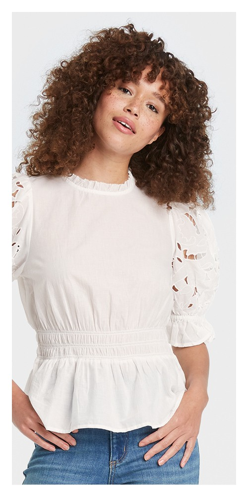 Women's Puff Short Sleeve Eyelet Peplum Top - Universal Thread™ White M
