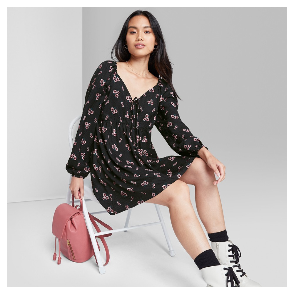 Women's Long Sleeve Tie-Front Muse Dress - Wild Fable™ Black Floral S