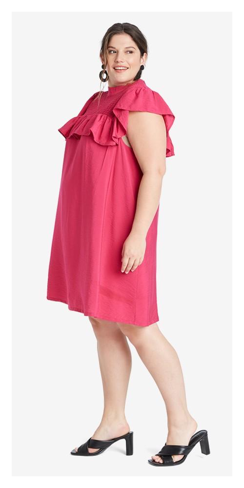 Women's Plus Size Sleeveless Ruffle Yoke Dress - A New Day™ Pink 2X