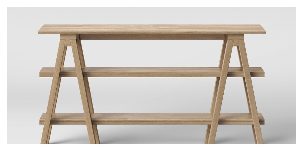 "30"" Burke Trestle Wooden Horizontal Bookshelf Natural - Threshold™"