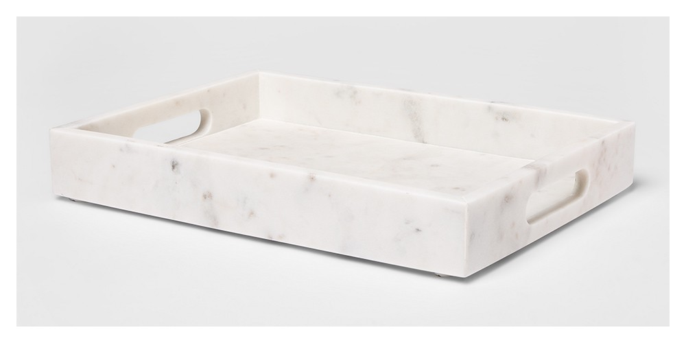 """14"""" x 10"""" Decorative Marble Rectangle Tray White - Project 62™"""