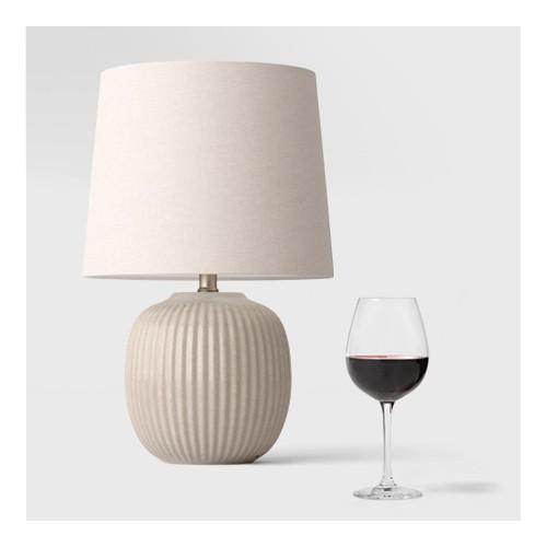 Large Ribbed Ceramic Table Lamp (Includes LED Light Bulb) Natural - Threshold™, 20.7oz 4pk Crystal Red Wine Glasses - Threshold™