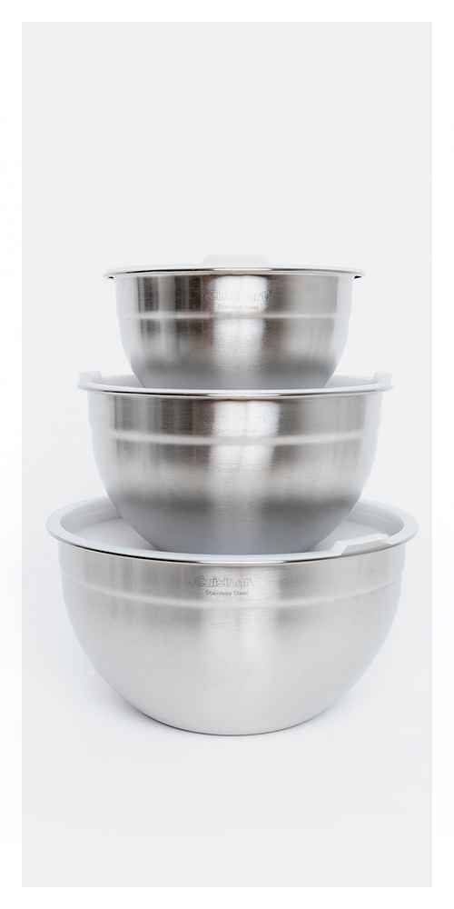 Cuisinart Set of 3 Stainless Steel Mixing Bowls with Lids - CTG-00-SMB, Plastic Mixing Bowl Set of 3 - Made By Design™, 3pc Stainless Steel Non-Slip Mixing Bowls - Made By Design™