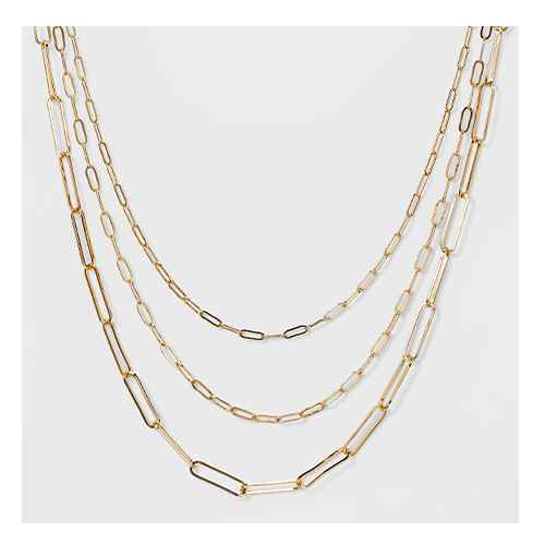 3 Row Paperclip Chain Necklace - A New Day™ Gold