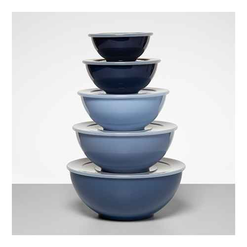 5pc Plastic Mixing Bowl Set with Lids Blue - Made By Design™