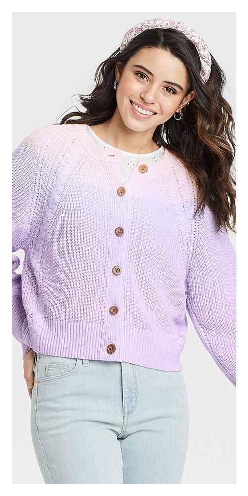 Women's Ombre Button-Down Cardigan - Universal Thread™ Light Purple S
