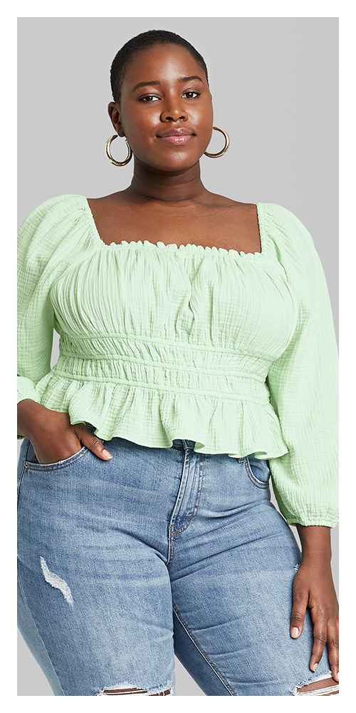 Women's Plus Size Puff Long Sleeve Square Neck Smocked Waist Top - Wild Fable™ Mint 1X