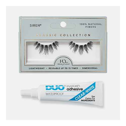 House of Lashes Siren Classic Collection False Eyelashes, Ardell Duo Adhesive Lash Adhesive Clear - 0.25oz
