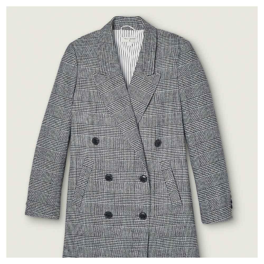 Women's Plaid Double Breasted Overcoat - Nili Lotan x Target Gray S, Women's Plus Size Plaid Double Breasted Overcoat- Nili Lotan x Target Gray 1X
