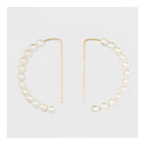 Pearl Drop Hoop Earrings - A New Day™ Gold