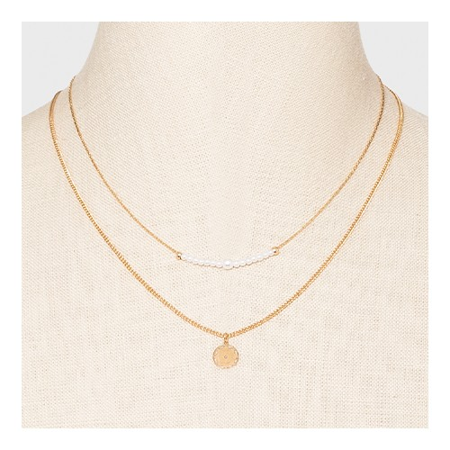 Filigree Disc with Glitter Layered Necklace - A New Day™ Gold