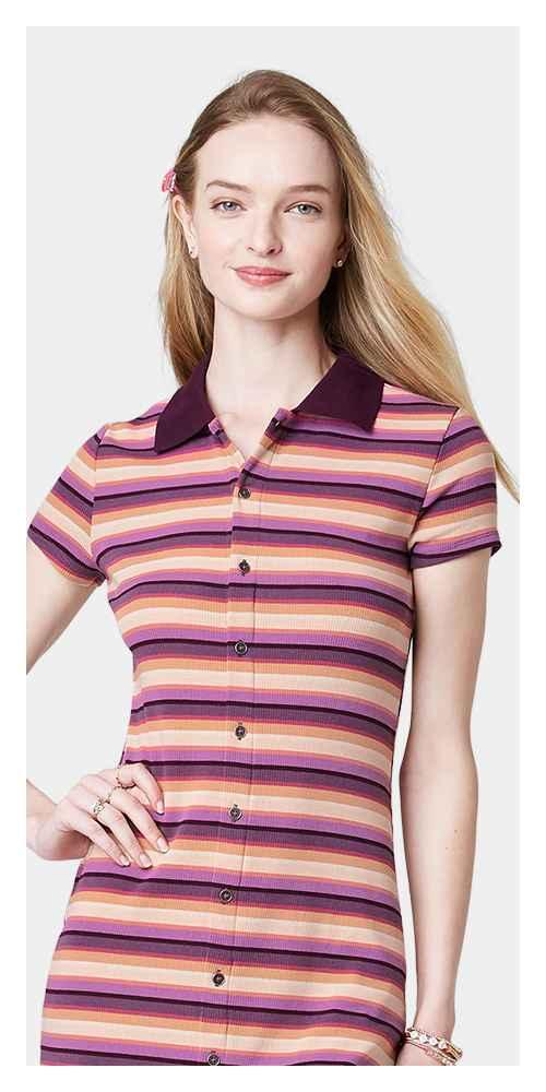 Women's Short Sleeve Bodycon Polo Dress - Wild Fable™ Burgundy Striped M