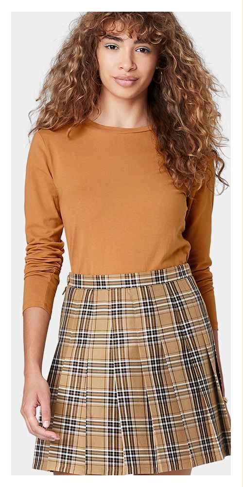Women's Woven Tennis Mini A-Line Skirt - Wild Fable™ Tan Plaid XS