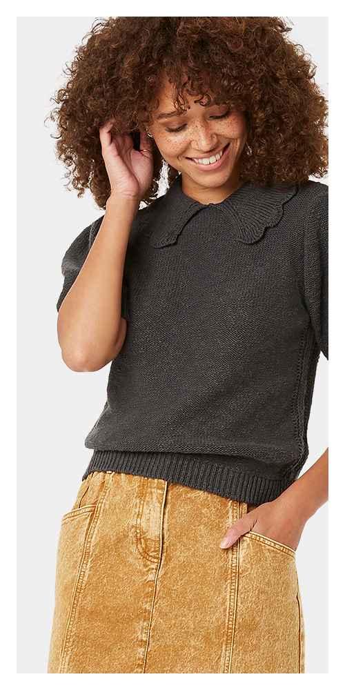 Women's Short Sleeve Crewneck T-Shirt Sweater - Universal Thread™ Charcoal Gray M