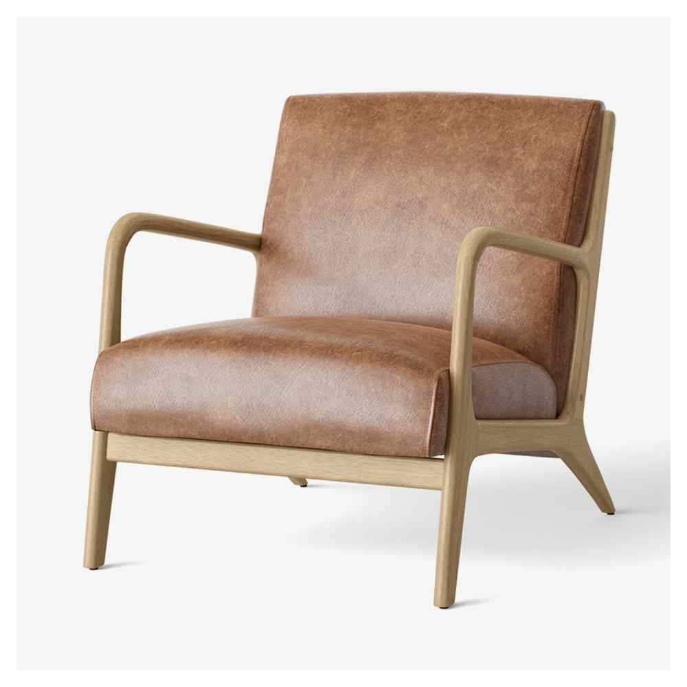 Esters Wood Armchair Caramel Faux Leather - Project 62™
