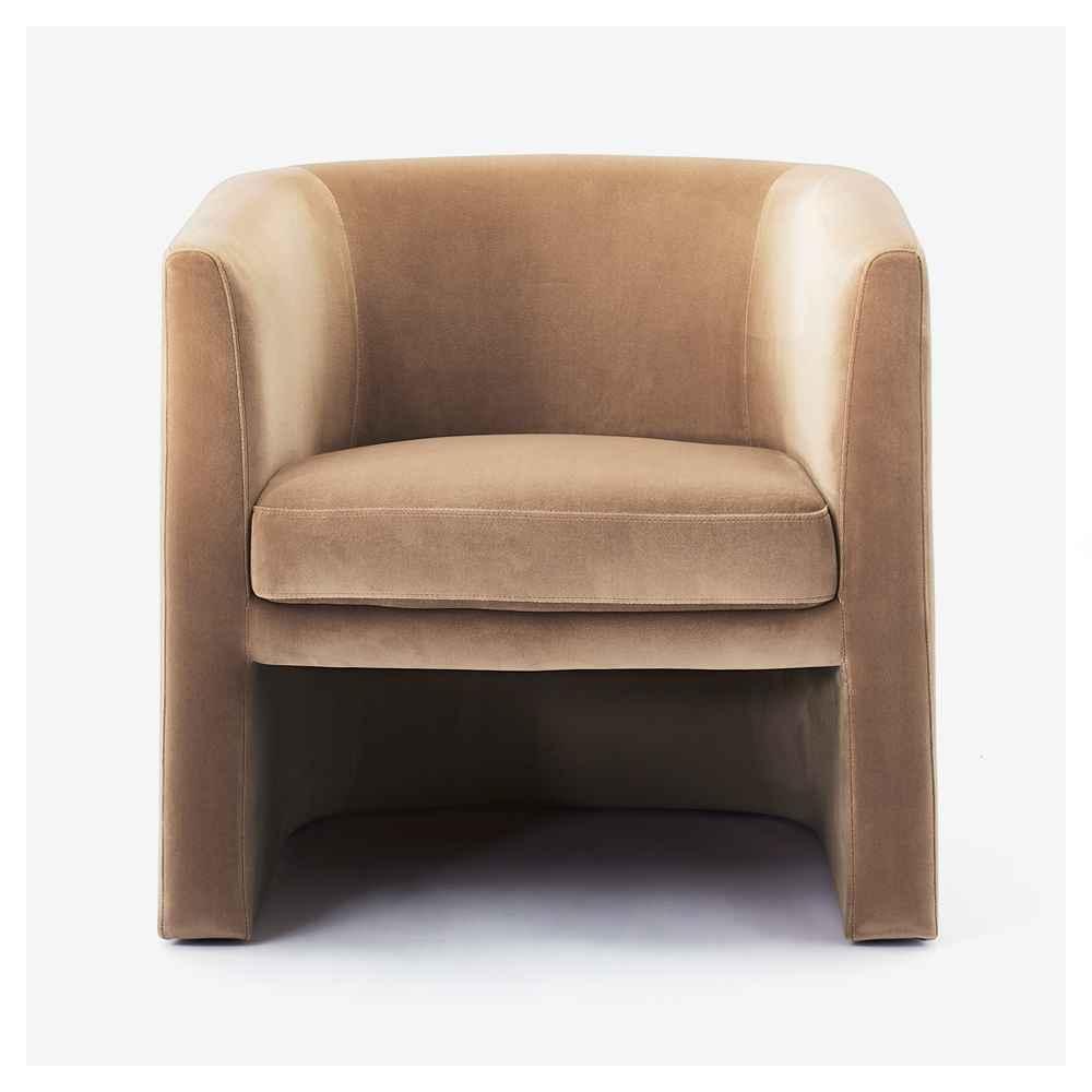 Vernon Upholstered Barrel Accent Chair Light Brown Velvet - Threshold™ designed with Studio McGee