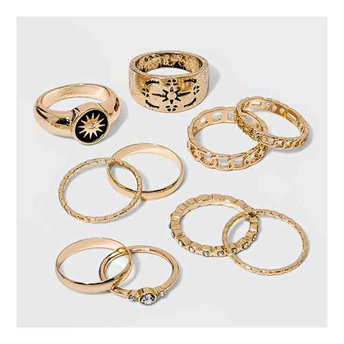 Signet with Starburst and Frozen Chain Ring Set 10pc - Wild Fable™ Gold