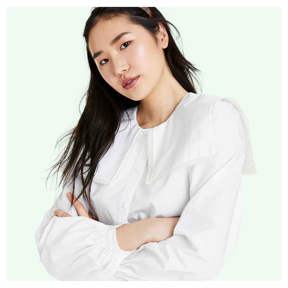 Women's Long Sleeve Oversized Square Collared Blouse - Sandy Liang x Target White S, Women's Plus Size Long Sleeve Oversized Square Collared Blouse - Sandy Liang x Target White 1X