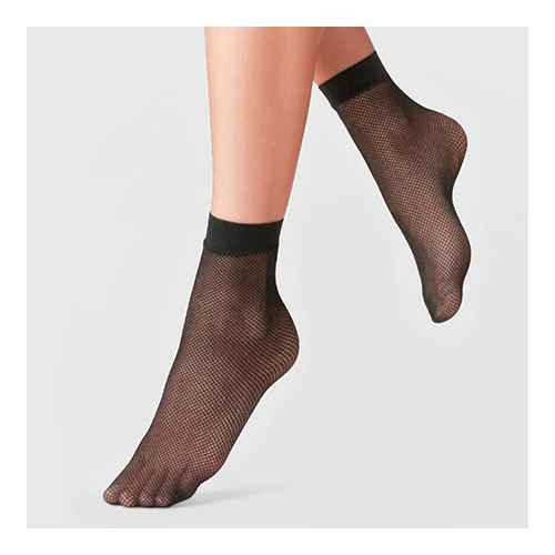 Women's Fishnet & 20D Sheer 2pk Anklet Socks - A New Day™ Black One Size