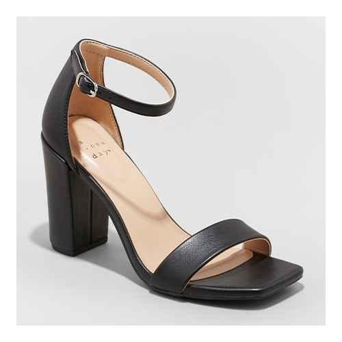 Women's Ema Square Toe Heels - A New Day™ Black 5.5