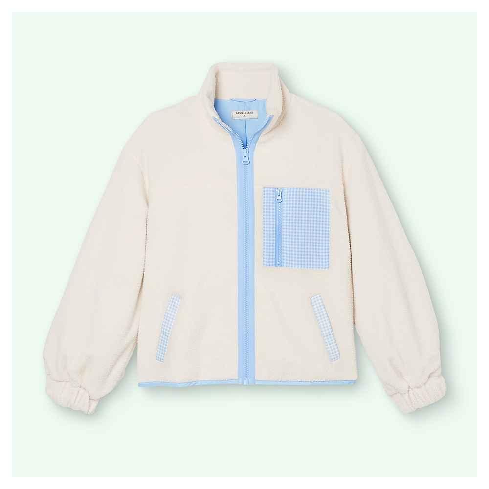 Women's Gingham Pocket Sherpa Jacket - Sandy Liang x Target Cream S, Women's Plus Size Gingham Pocket Sherpa Jacket - Sandy Liang x Target Cream 1X