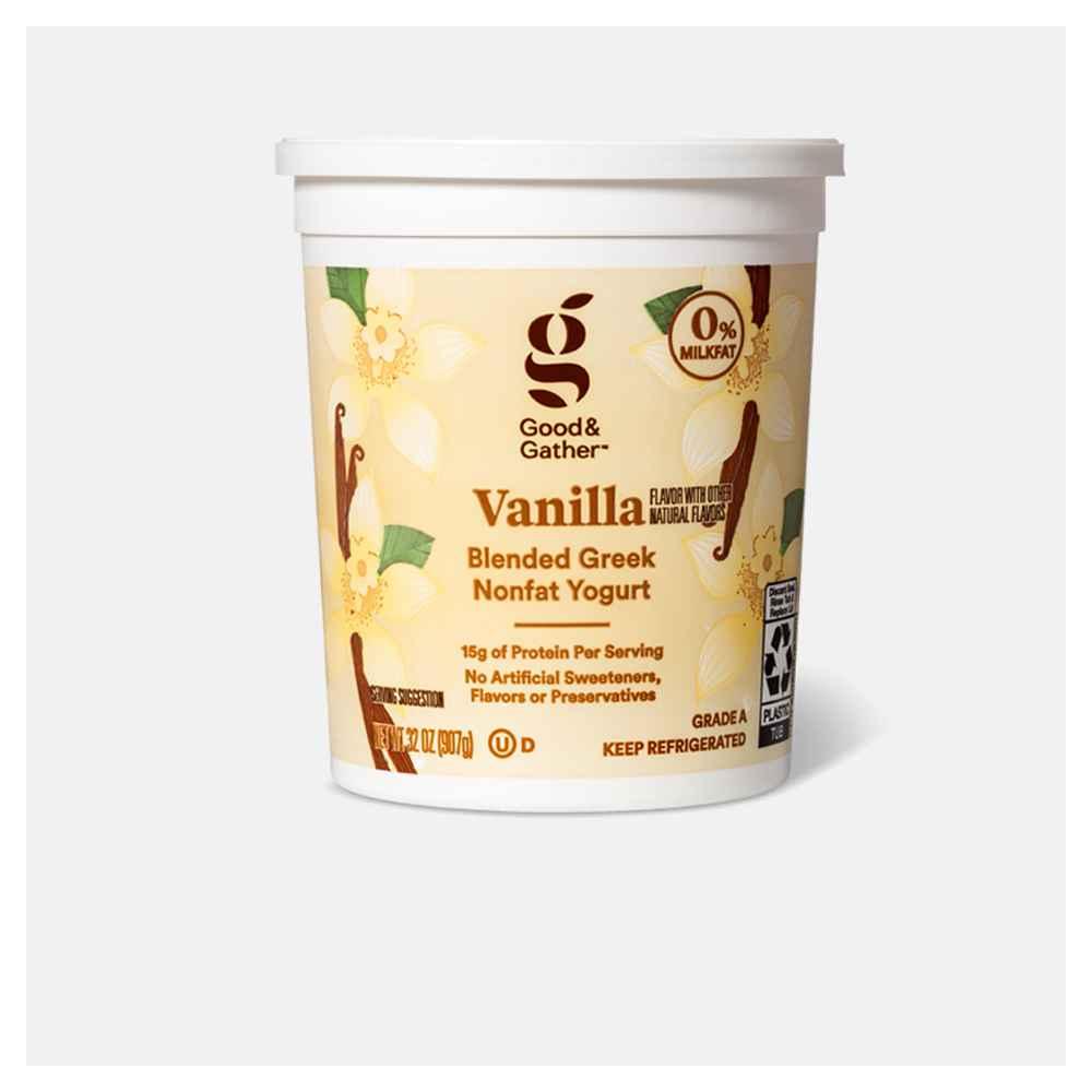 Greek Vanilla Nonfat Yogurt - 32oz - Good & Gather™, Greek Honey Vanilla Whole Milk Yogurt - 32oz - Good & Gather™, Greek Plain Nonfat Yogurt - 32oz - Good & Gather™, Chobani Vanilla Blended Nonfat Greek Yogurt - 32oz, Oui by Yoplait Vanilla Flavored French Style Yogurt - 4ct/5oz Jars