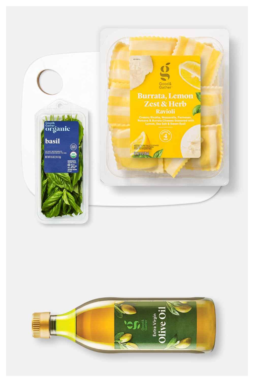 "Burrata Lemon Zest Herb Ravioli - 9oz - Good & Gather™, Organic Basil - 0.5oz - Good & Gather™, Extra Virgin Olive Oil - 16.9oz - Good & Gather™, 10""x13"" Bamboo and Poly Flip Cutting Board   - Made By Design™"