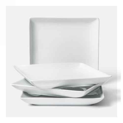 """11in Porcelain Square Dinner Plate White 10.3""""x10.3"""" Set of 4 - Threshold™"""