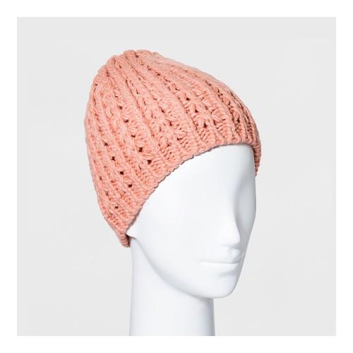Women's Hand Knit Lined Beanie - Universal Thread™ Pink