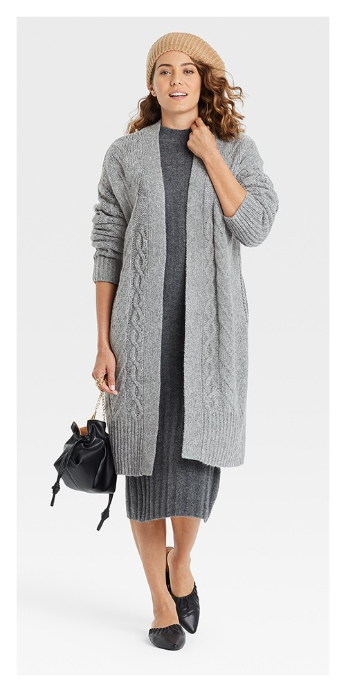 Women's Cable Knit Open-Front Cardigan - A New Day™ Charcoal Gray XXL, Women's Long Sleeve Rib-Knit Sweater Dress - A New Day™ Charcoal XS, Women's Rib Knit Beret - A New Day™ Black, Soft Clutch - A New Day™, Women's Elle Flats and Slip Ons - A New Day™