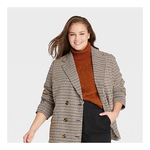 Women's Plus Size Pea Coat - Who What Wear™ Brown Plaid 1X
