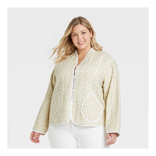 Women's Plus Size Quilted Jacket - Universal Thread™ Off-White 1X