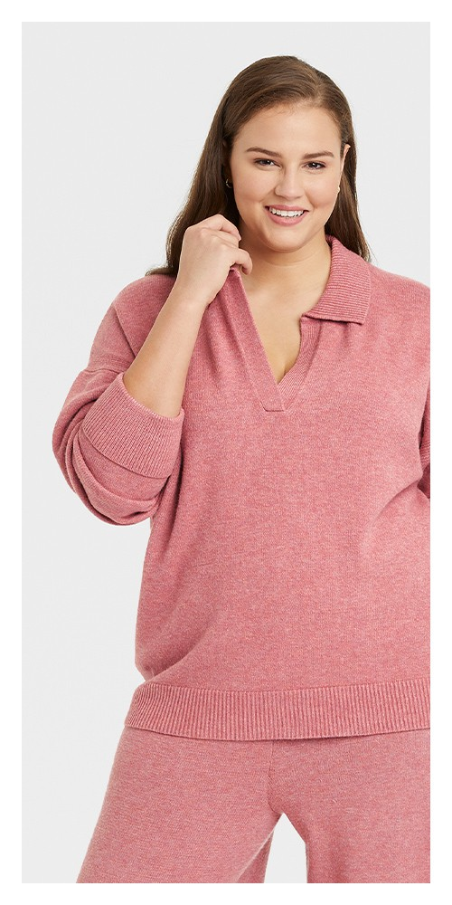 Women's Plus Size Collared Split Neck Pullover Sweater - A New Day™ Pink 3X