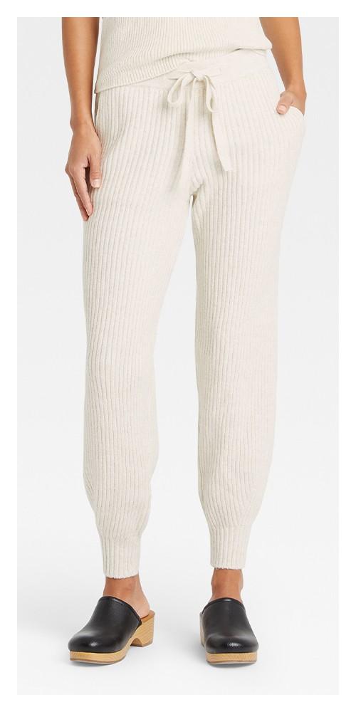 Women's Drawstring Sweater Jogger Pants - Universal Thread™ Cream S