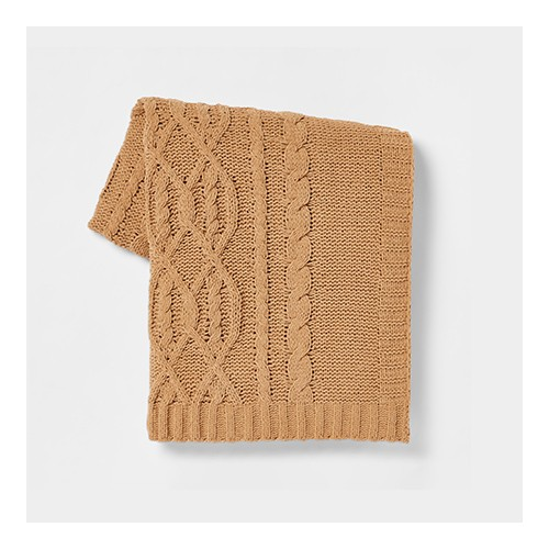 Cable Knit Chenille Throw Blanket Tan - Threshold™