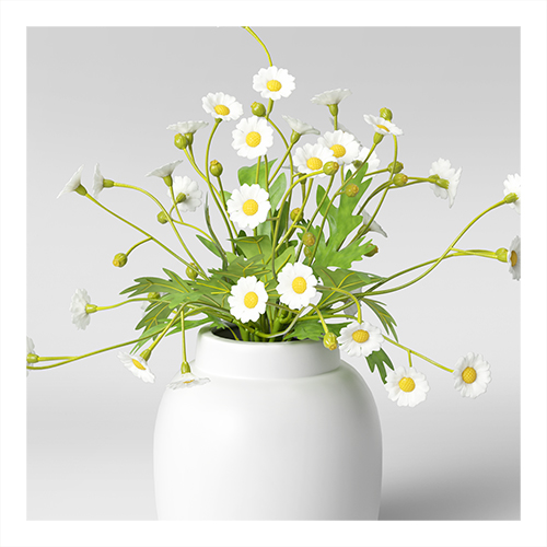 "11"" x 9"" Artificial Daisy Plant Arrangement in Ceramic Pot White - Threshold™"