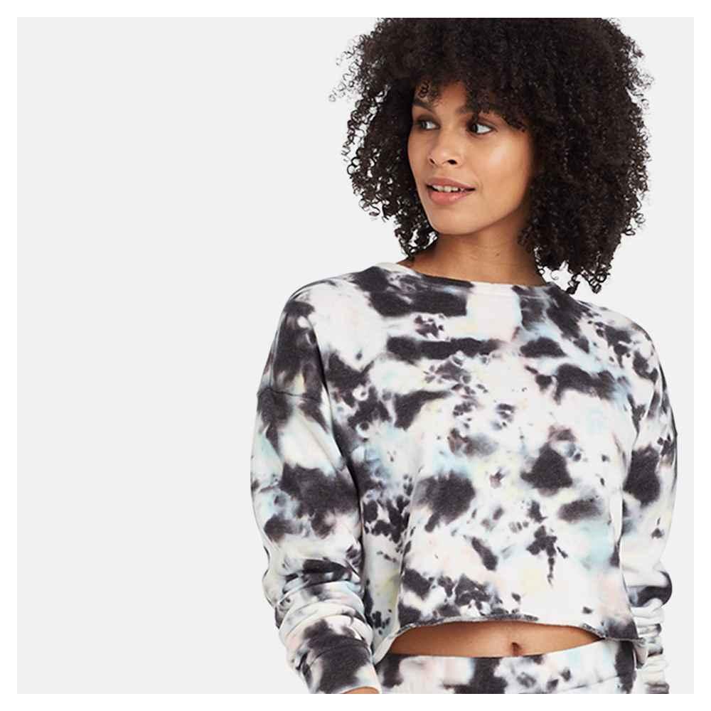 Women's Tie-Dye Cropped Fleece Lounge Sweatshirt - Colsie™ Black S