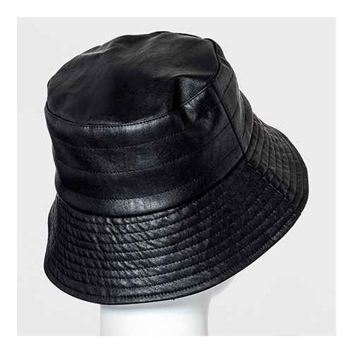 Women's Quilted Faux Leather Bucket Hat - A New Day™ Black