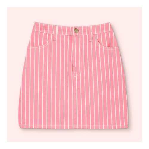Women's Pinstripe High-Rise Mini Jean Skirt - Victor Glemaud x Target Pink 4, Women's Plus Size Pinstripe High-Rise Mini Jean Skirt - Victor Glemaud x Target Pink 16W/18W