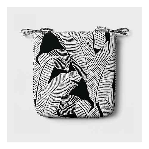 Mod Palm Outdoor Seat Cushion DuraSeason Fabric™ Black/White - Project 62™