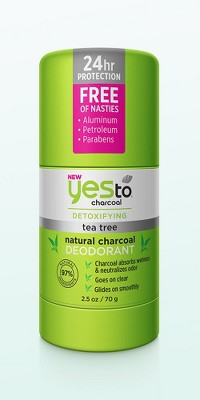 Yes to Tea Tree Scented Natural Charcoal Deodorant - 2.5oz