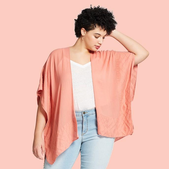 Women's Plus Size Jacquard Ruana Kimono Jackets - Universal Thread™