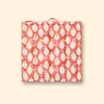 Lemons Outdoor Tufted Floor Cushion Coral - Opalhouse™