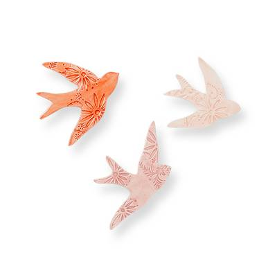 Earthenware Bird Wall Decor Pink (Set of 3) - Opalhouse™